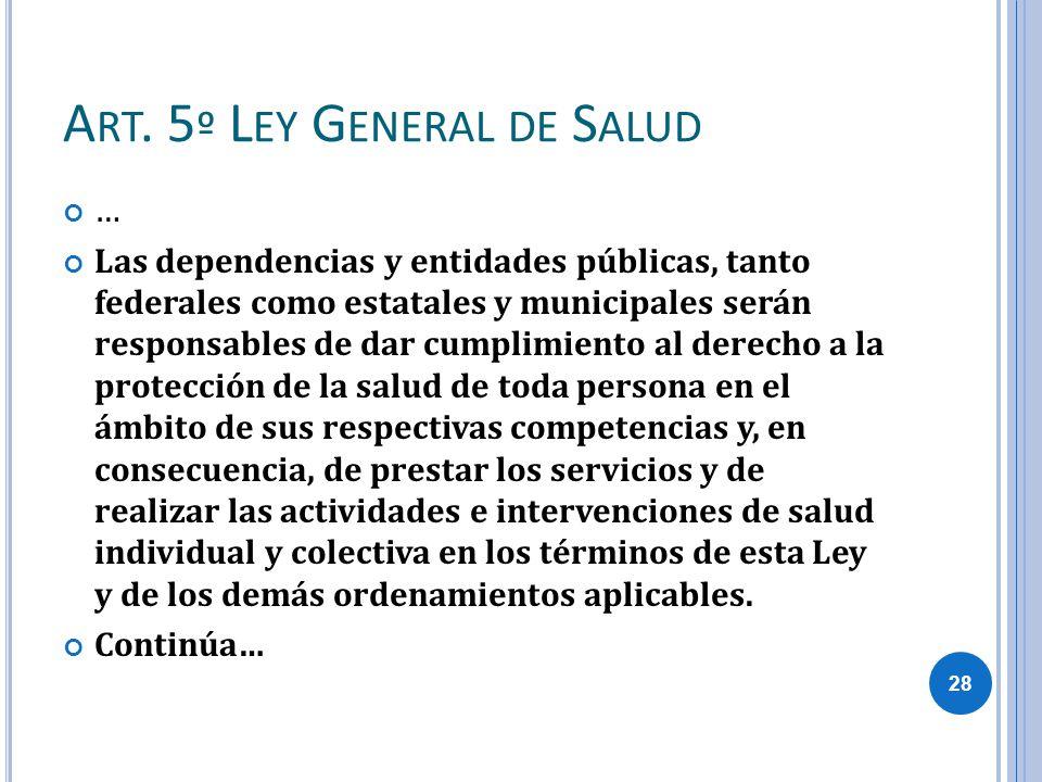 A RT. 5 º L EY G ENERAL DE S ALUD … Las dependencias y entidades públicas, tanto federales como estatales y municipales serán responsables de dar cump