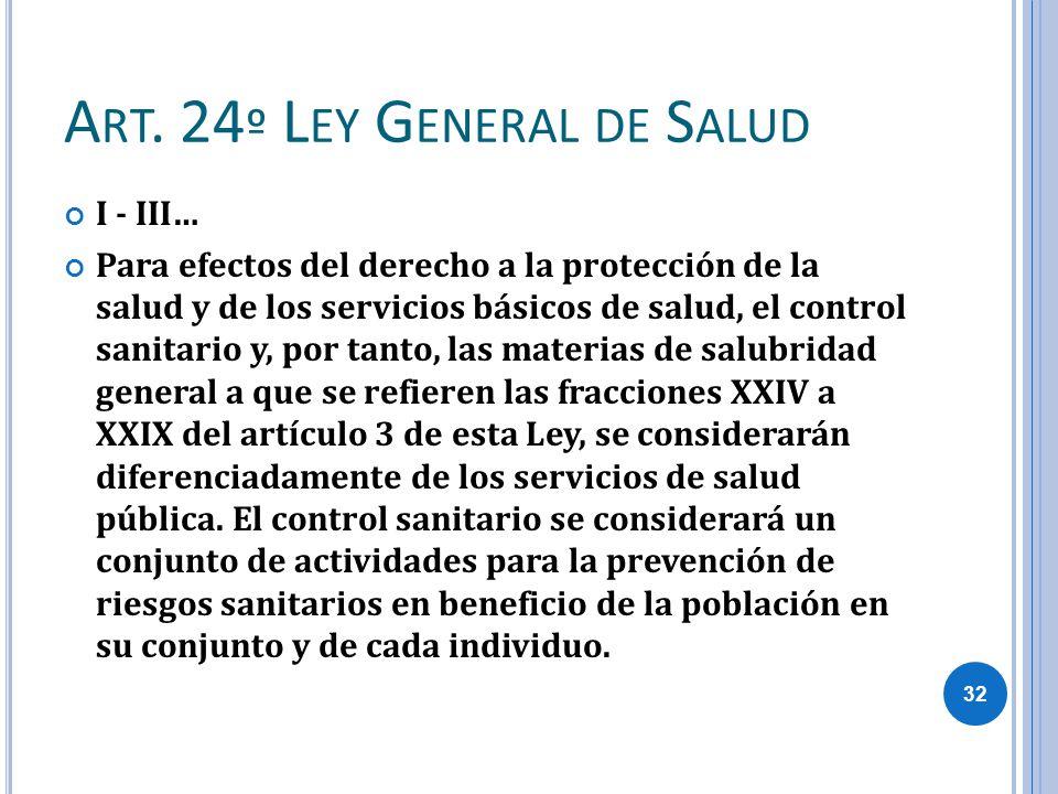 A RT. 24 º L EY G ENERAL DE S ALUD I - III… Para efectos del derecho a la protección de la salud y de los servicios básicos de salud, el control sanit