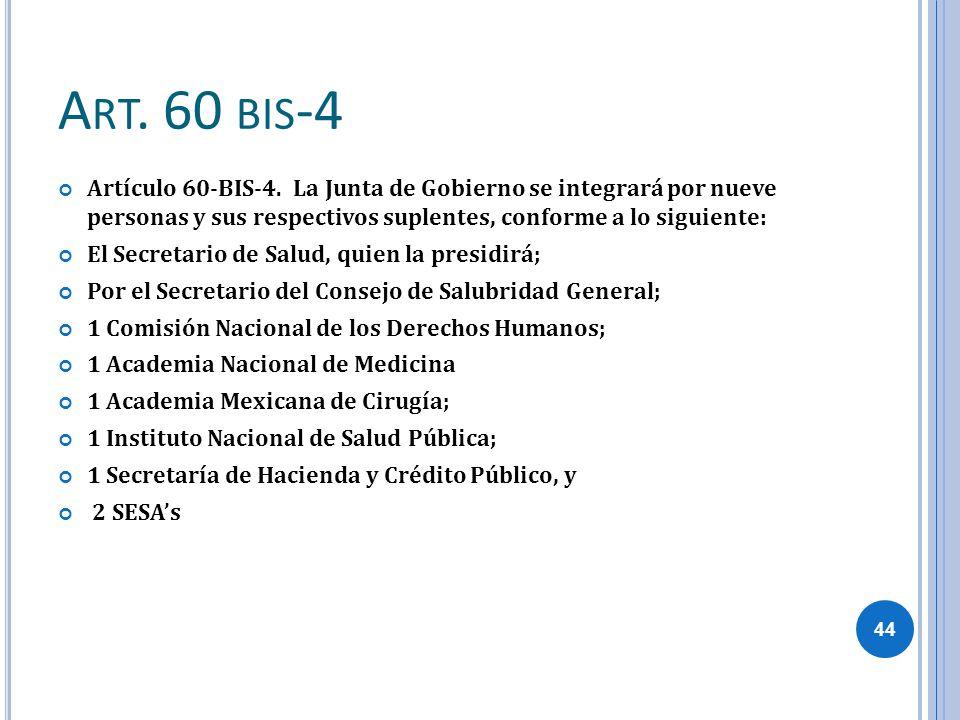 A RT. 60 BIS -4 Artículo 60-BIS-4. La Junta de Gobierno se integrará por nueve personas y sus respectivos suplentes, conforme a lo siguiente: El Secre