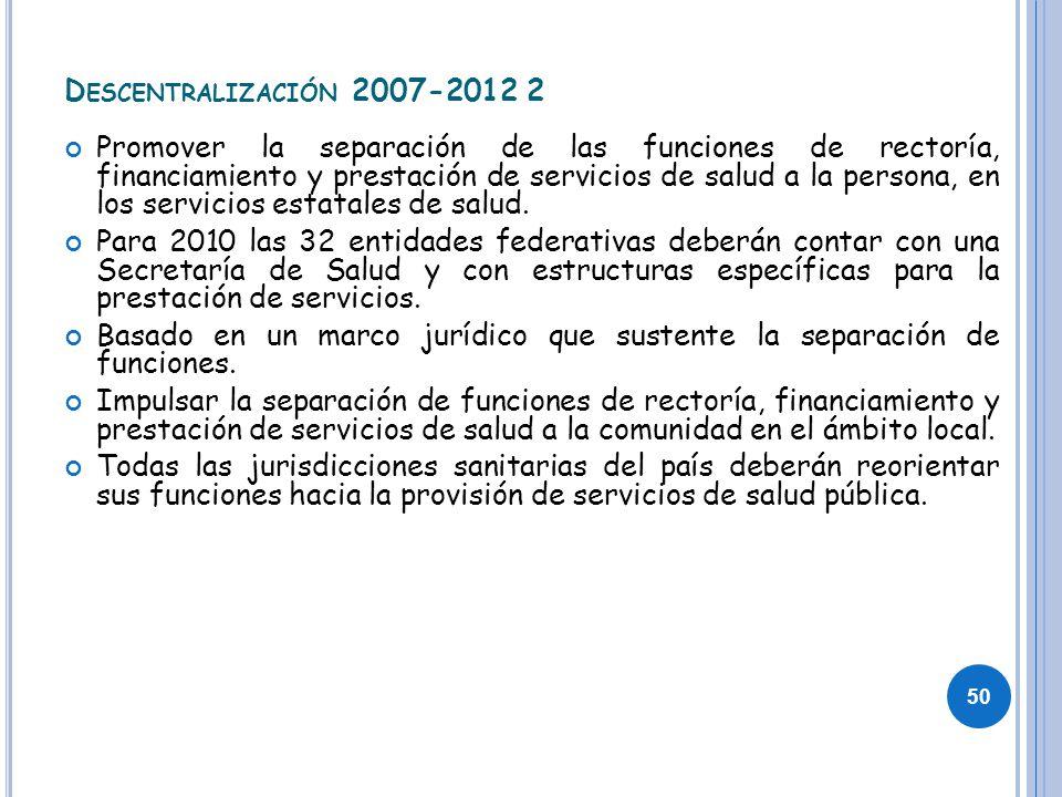 D ESCENTRALIZACIÓN 2007-2012 2 Promover la separación de las funciones de rectoría, financiamiento y prestación de servicios de salud a la persona, en
