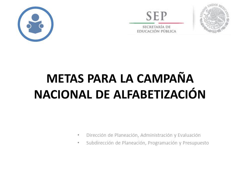 METAS PARA LA CAMPAÑA NACIONAL DE ALFABETIZACIÓN Dirección de Planeación, Administración y Evaluación Subdirección de Planeación, Programación y Presu