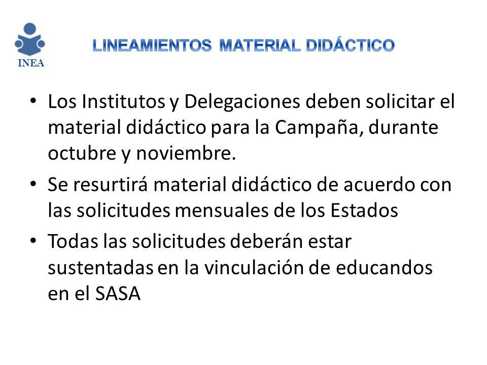 Los Institutos y Delegaciones deben solicitar el material didáctico para la Campaña, durante octubre y noviembre. Se resurtirá material didáctico de a
