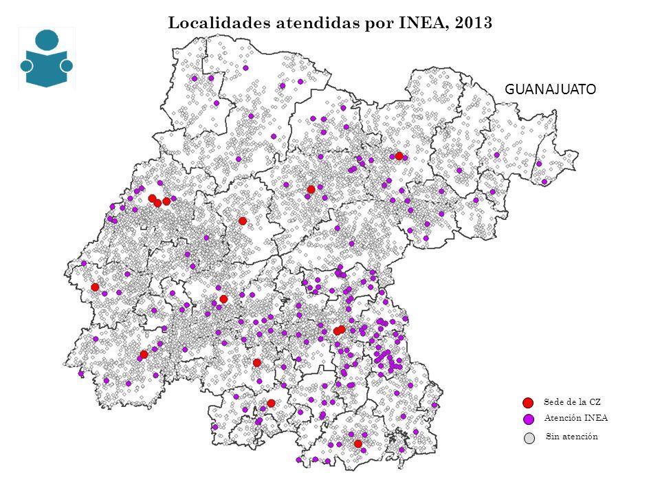 Localidades atendidas por INEA, 2013 Sede de la CZ Sin atención Atención INEA GUANAJUATO