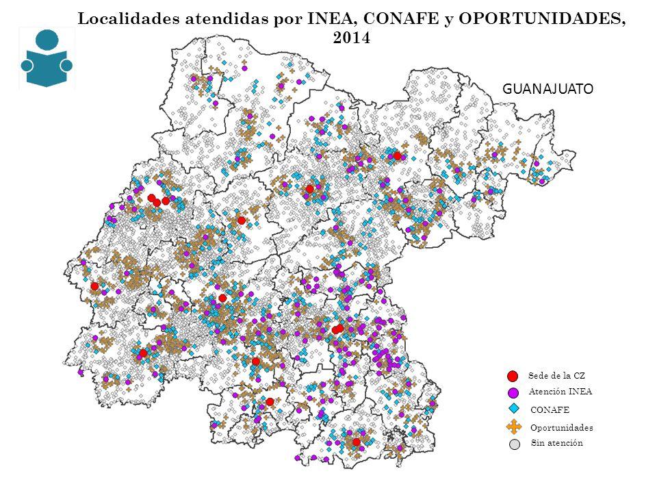 Localidades atendidas por INEA, CONAFE y OPORTUNIDADES, 2014 CONAFE Sede de la CZ Sin atención Oportunidades Atención INEA GUANAJUATO