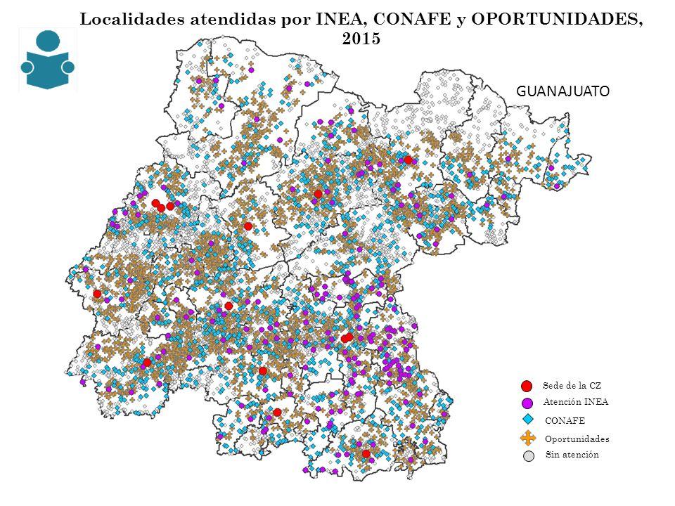 Localidades atendidas por INEA, CONAFE y OPORTUNIDADES, 2015 CONAFE Sede de la CZ Sin atención Oportunidades Atención INEA GUANAJUATO