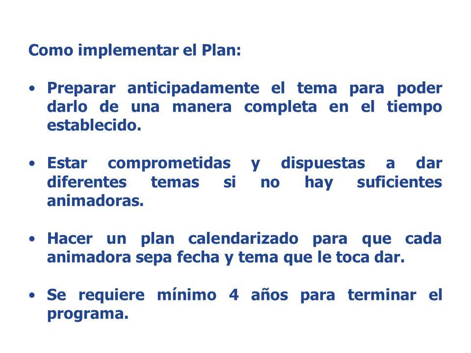 Como implementar el Plan: Preparar anticipadamente el tema para poder darlo de una manera completa en el tiempo establecido.