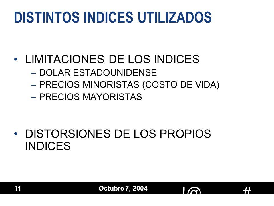 # !@ Octubre 7, 2004 11 DISTINTOS INDICES UTILIZADOS LIMITACIONES DE LOS INDICES –DOLAR ESTADOUNIDENSE –PRECIOS MINORISTAS (COSTO DE VIDA) –PRECIOS MA