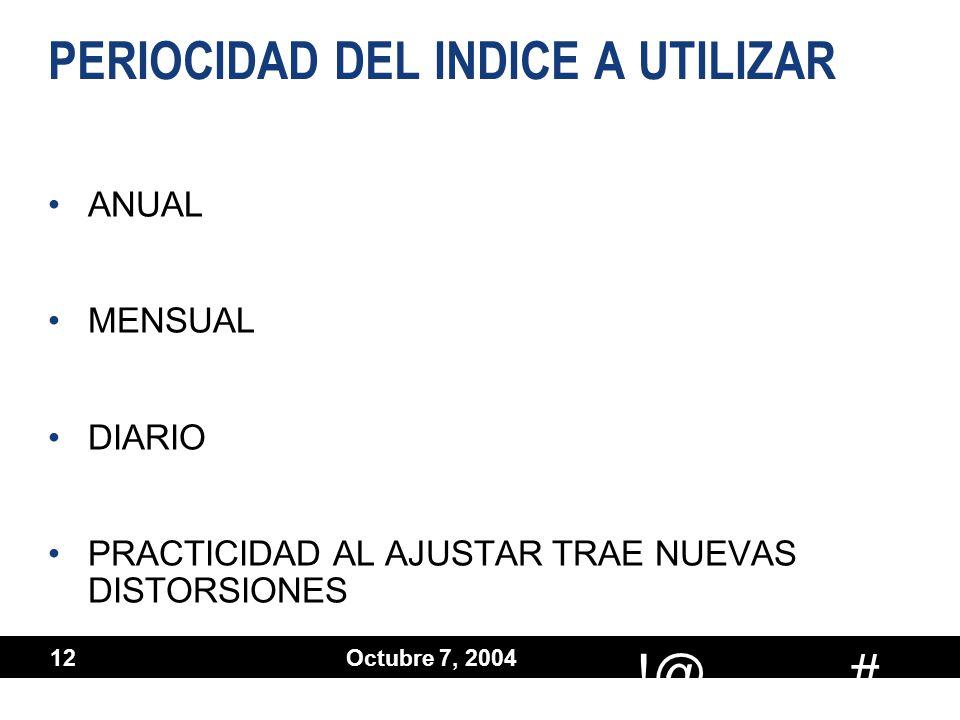 # !@ Octubre 7, 2004 12 PERIOCIDAD DEL INDICE A UTILIZAR ANUAL MENSUAL DIARIO PRACTICIDAD AL AJUSTAR TRAE NUEVAS DISTORSIONES ANUAL MENSUAL DIARIO PRA