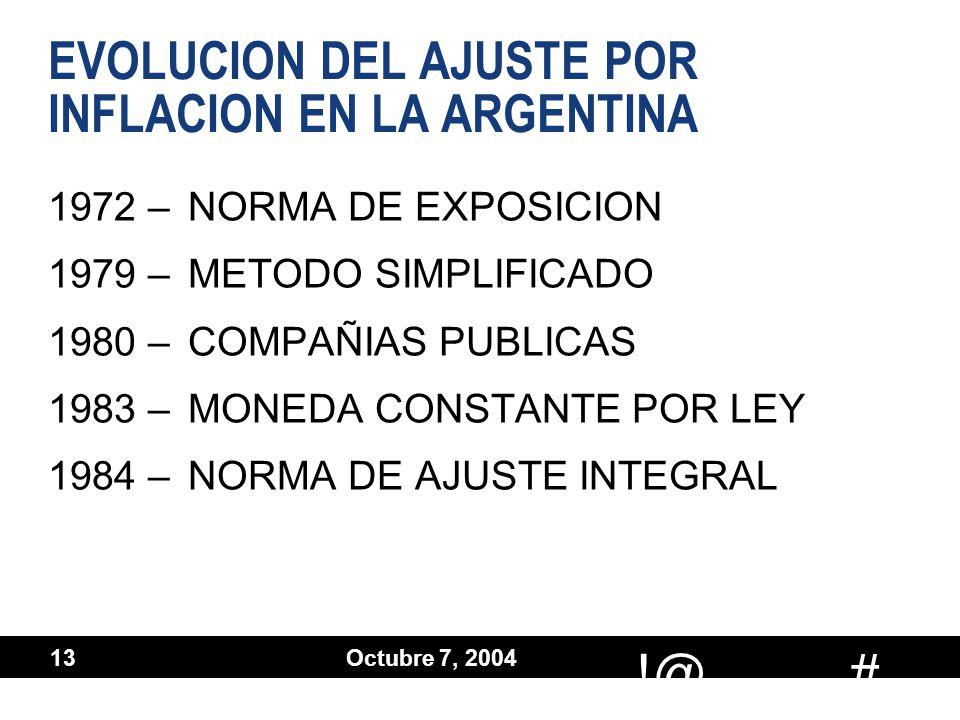 # !@ Octubre 7, 2004 13 EVOLUCION DEL AJUSTE POR INFLACION EN LA ARGENTINA 1972 –NORMA DE EXPOSICION 1979 –METODO SIMPLIFICADO 1980 –COMPAÑIAS PUBLICA