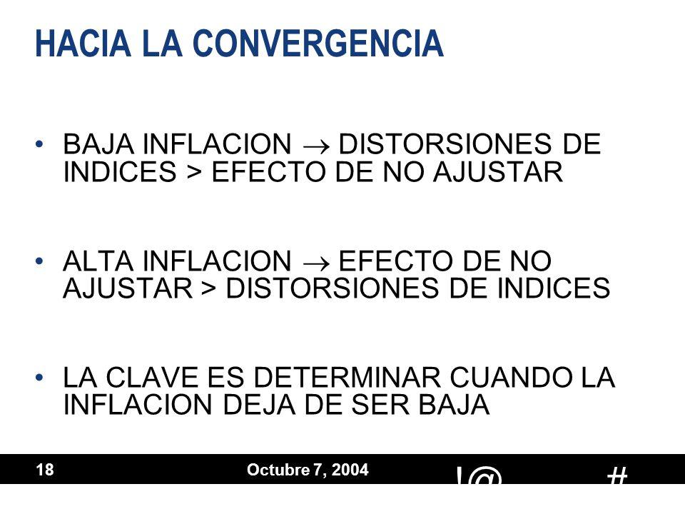 # !@ Octubre 7, 2004 18 HACIA LA CONVERGENCIA BAJA INFLACION DISTORSIONES DE INDICES > EFECTO DE NO AJUSTAR ALTA INFLACION EFECTO DE NO AJUSTAR > DIST
