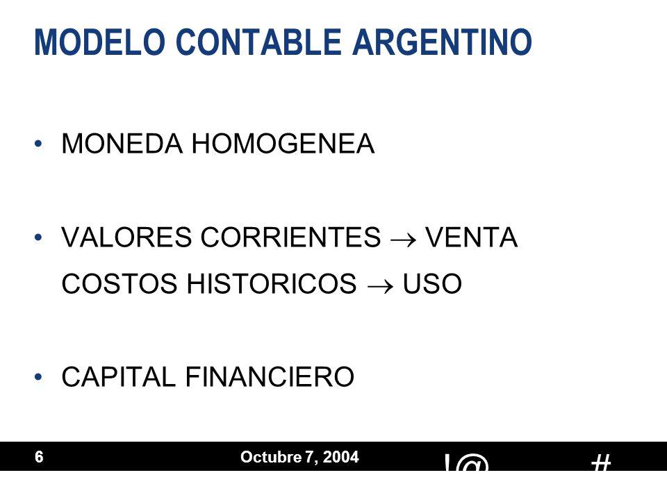 # !@ Octubre 7, 2004 6 MODELO CONTABLE ARGENTINO MONEDA HOMOGENEA VALORES CORRIENTES VENTA COSTOS HISTORICOS USO CAPITAL FINANCIERO MONEDA HOMOGENEA V
