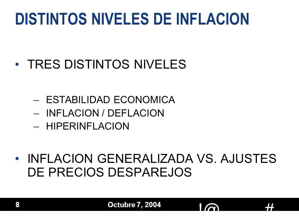 # !@ Octubre 7, 2004 9 DISTINTOS METODOS UTILIZADOS DESCONOCIENDO EL PROBLEMA –CONTABILIDAD HISTORICA AJUSTES PARCIALES –ACTIVOS A VALORES CORRIENTES (VALORES NEGOCIABLES, ORO) –REVALUACIONES ESPECIFICAS (ACTIVO FIJO) –CONSUMOS DE ACTIVOS PARA ACTUALIZAR SUS RESULTADOS (LIFO, DEPRECIACION ACELERADA) DESCONOCIENDO EL PROBLEMA –CONTABILIDAD HISTORICA AJUSTES PARCIALES –ACTIVOS A VALORES CORRIENTES (VALORES NEGOCIABLES, ORO) –REVALUACIONES ESPECIFICAS (ACTIVO FIJO) –CONSUMOS DE ACTIVOS PARA ACTUALIZAR SUS RESULTADOS (LIFO, DEPRECIACION ACELERADA)