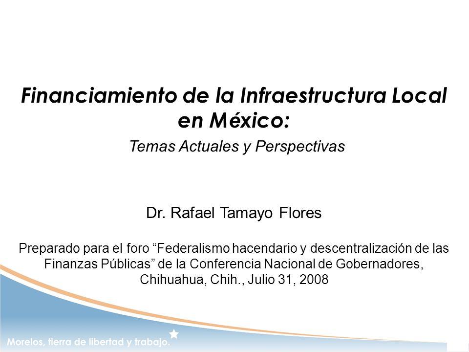 Financiamiento de la Infraestructura Local en M é xico: Temas Actuales y Perspectivas Dr. Rafael Tamayo Flores Preparado para el foro Federalismo hace