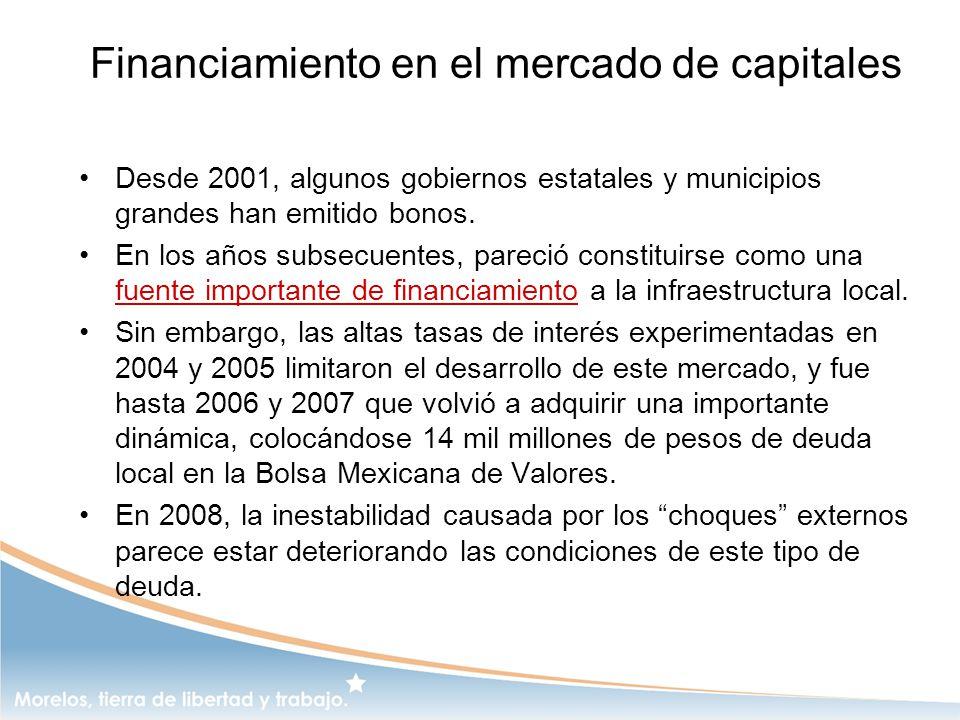 Financiamiento en el mercado de capitales Desde 2001, algunos gobiernos estatales y municipios grandes han emitido bonos. En los años subsecuentes, pa