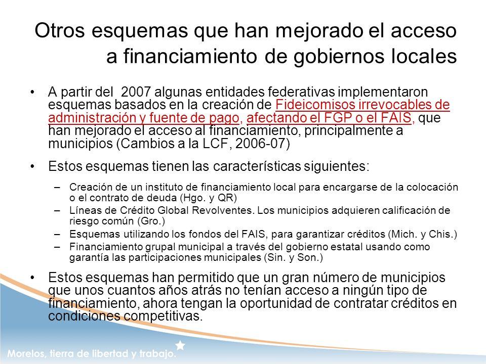 Otros esquemas que han mejorado el acceso a financiamiento de gobiernos locales A partir del 2007 algunas entidades federativas implementaron esquemas
