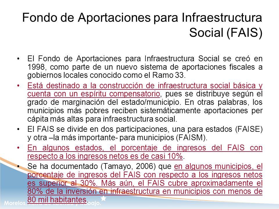 Fondo de Aportaciones para Infraestructura Social (FAIS) El Fondo de Aportaciones para Infraestructura Social se creó en 1998, como parte de un nuevo