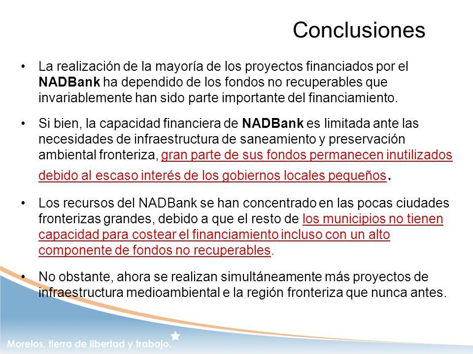Conclusiones La realización de la mayoría de los proyectos financiados por el NADBank ha dependido de los fondos no recuperables que invariablemente h