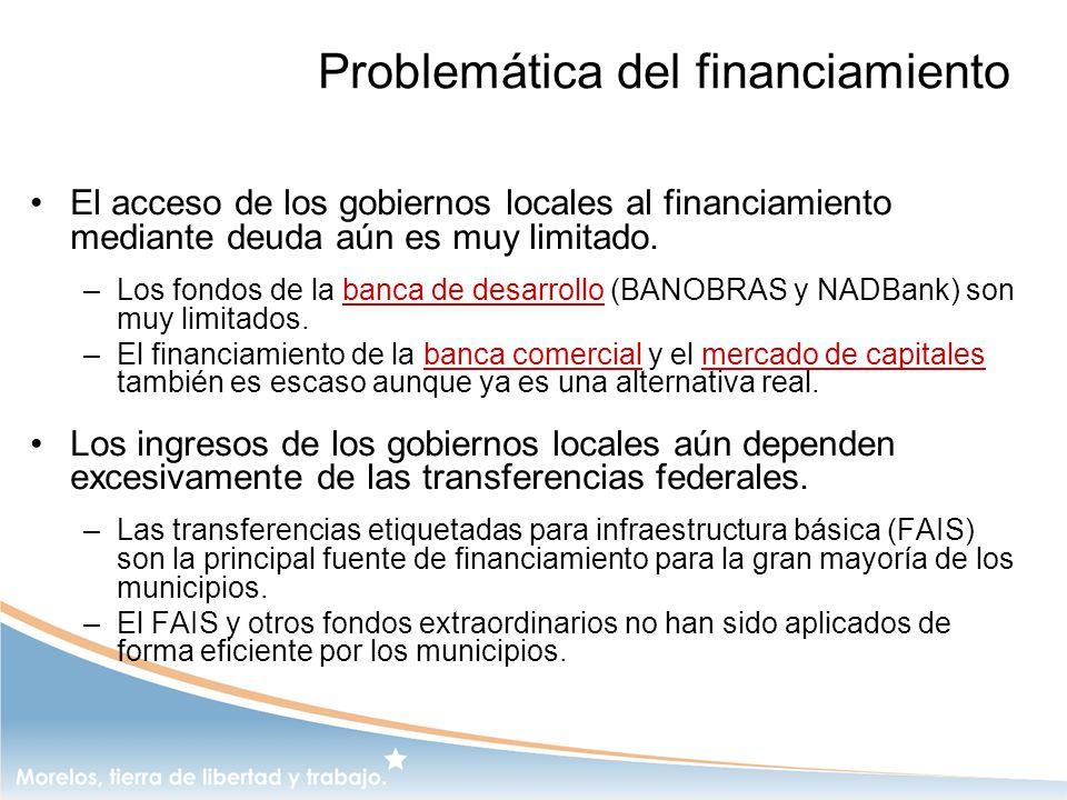 Problemática del financiamiento El acceso de los gobiernos locales al financiamiento mediante deuda aún es muy limitado. –Los fondos de la banca de de