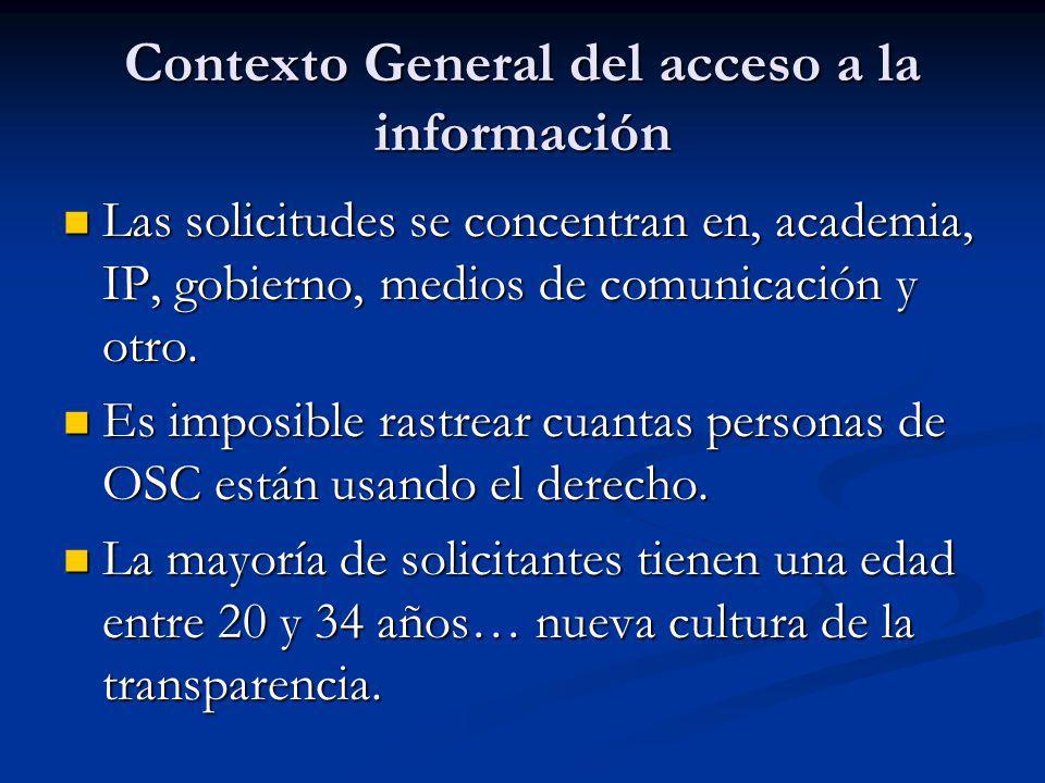 Contexto General del acceso a la información Las solicitudes se concentran en, academia, IP, gobierno, medios de comunicación y otro.