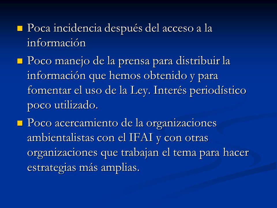 Poca incidencia después del acceso a la información Poca incidencia después del acceso a la información Poco manejo de la prensa para distribuir la información que hemos obtenido y para fomentar el uso de la Ley.