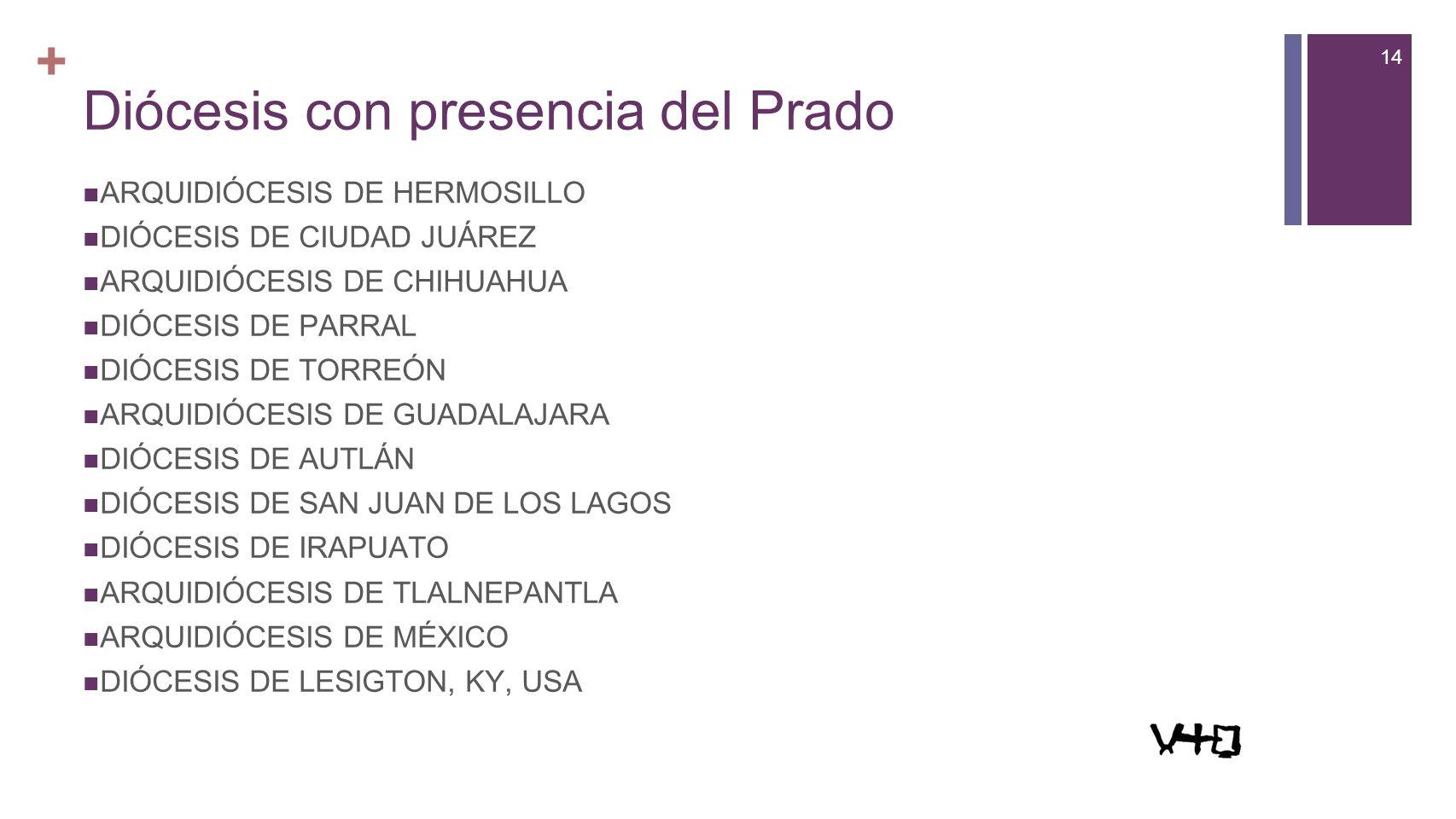 14 + Diócesis con presencia del Prado ARQUIDIÓCESIS DE HERMOSILLO DIÓCESIS DE CIUDAD JUÁREZ ARQUIDIÓCESIS DE CHIHUAHUA DIÓCESIS DE PARRAL DIÓCESIS DE TORREÓN ARQUIDIÓCESIS DE GUADALAJARA DIÓCESIS DE AUTLÁN DIÓCESIS DE SAN JUAN DE LOS LAGOS DIÓCESIS DE IRAPUATO ARQUIDIÓCESIS DE TLALNEPANTLA ARQUIDIÓCESIS DE MÉXICO DIÓCESIS DE LESIGTON, KY, USA