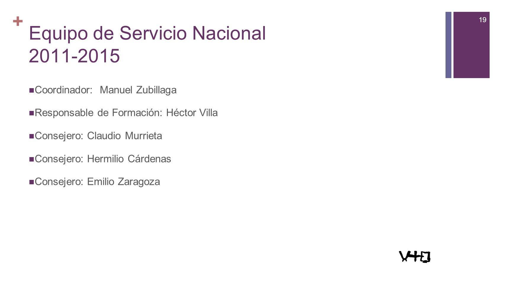 19 + Equipo de Servicio Nacional 2011-2015 Coordinador: Manuel Zubillaga Responsable de Formación: Héctor Villa Consejero: Claudio Murrieta Consejero: Hermilio Cárdenas Consejero: Emilio Zaragoza