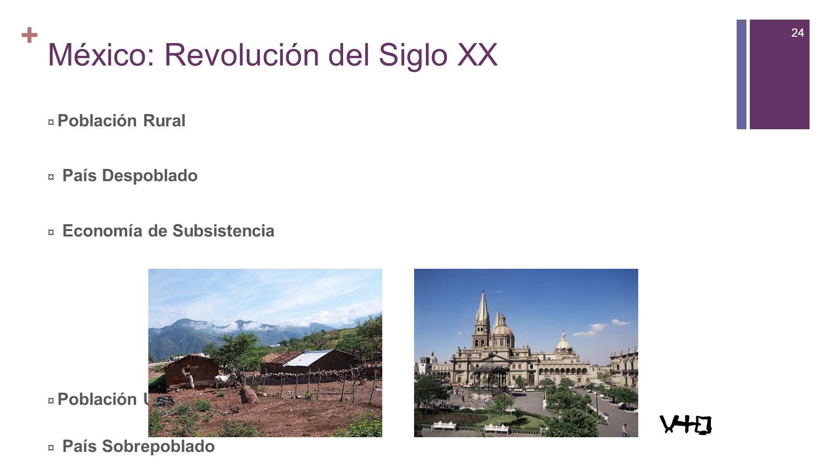 24 + México: Revolución del Siglo XX Población Rural País Despoblado Economía de Subsistencia Población Urbana País Sobrepoblado Economía de Mercado