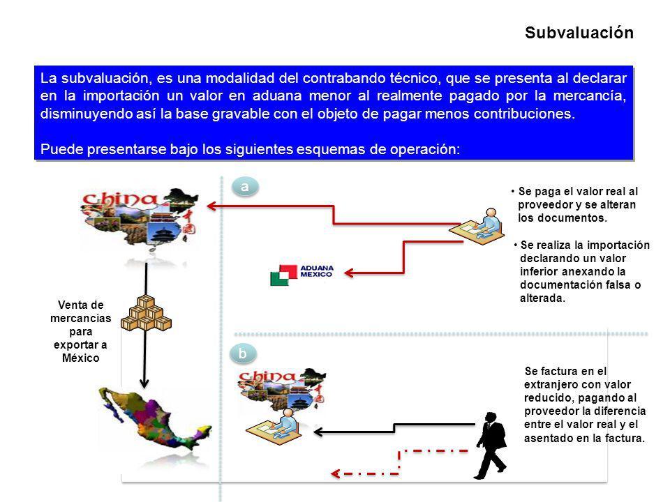 La subvaluación, es una modalidad del contrabando técnico, que se presenta al declarar en la importación un valor en aduana menor al realmente pagado