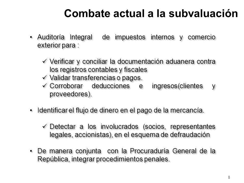 8 Combate actual a la subvaluación Auditoría Integral de impuestos internos y comercio exterior para : Verificar y conciliar la documentación aduanera