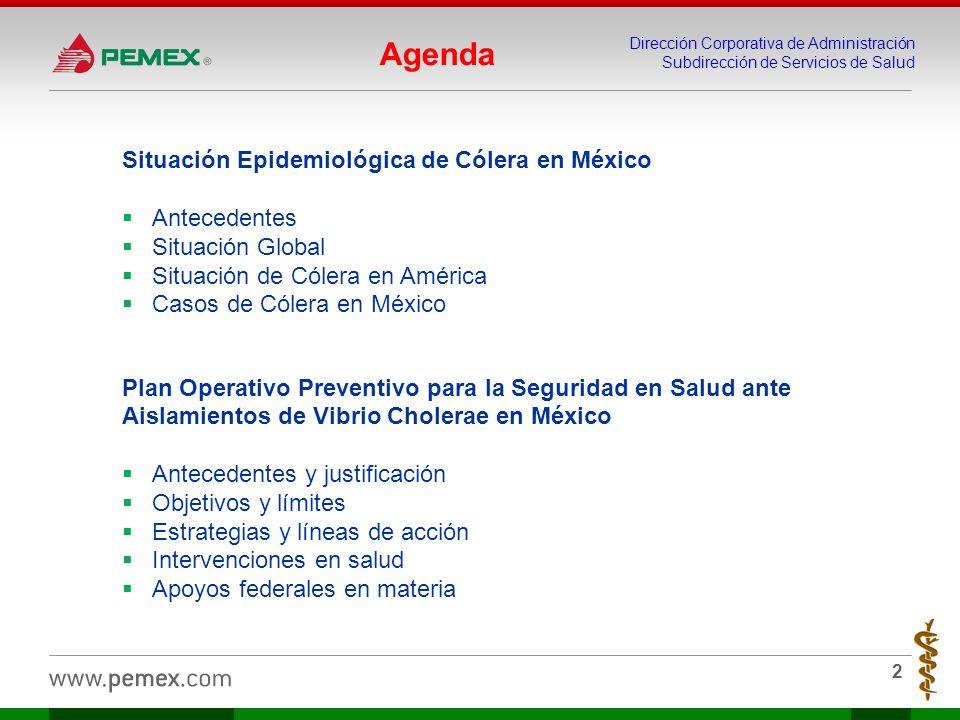 Dirección Corporativa de Administración Subdirección de Servicios de Salud 2 Situación Epidemiológica de Cólera en México Antecedentes Situación Globa