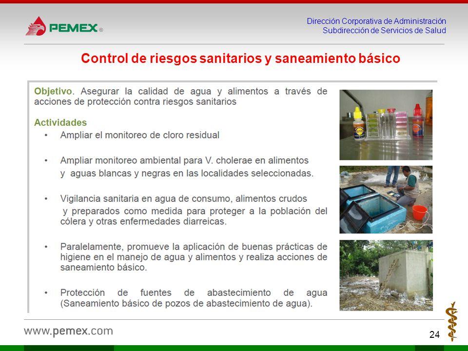 Dirección Corporativa de Administración Subdirección de Servicios de Salud 24 Control de riesgos sanitarios y saneamiento básico