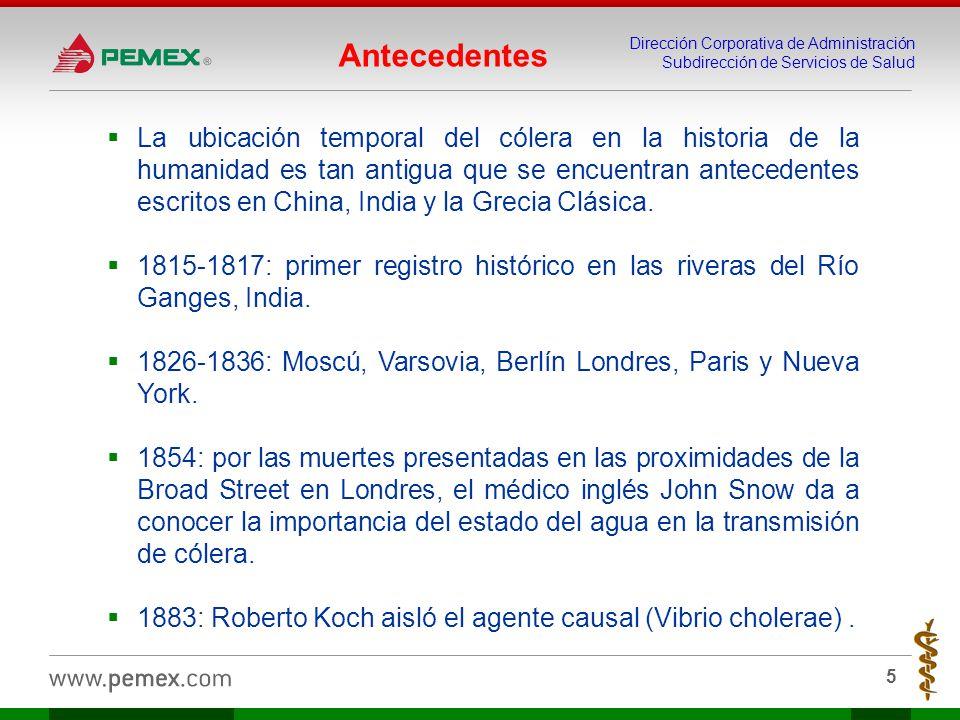 Dirección Corporativa de Administración Subdirección de Servicios de Salud 5 Antecedentes La ubicación temporal del cólera en la historia de la humani