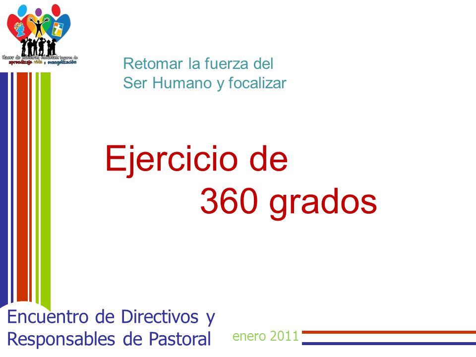 enero 2011 Encuentro de Directivos y Responsables de Pastoral Retomar la fuerza del Ser Humano y focalizar Ejercicio de 360 grados