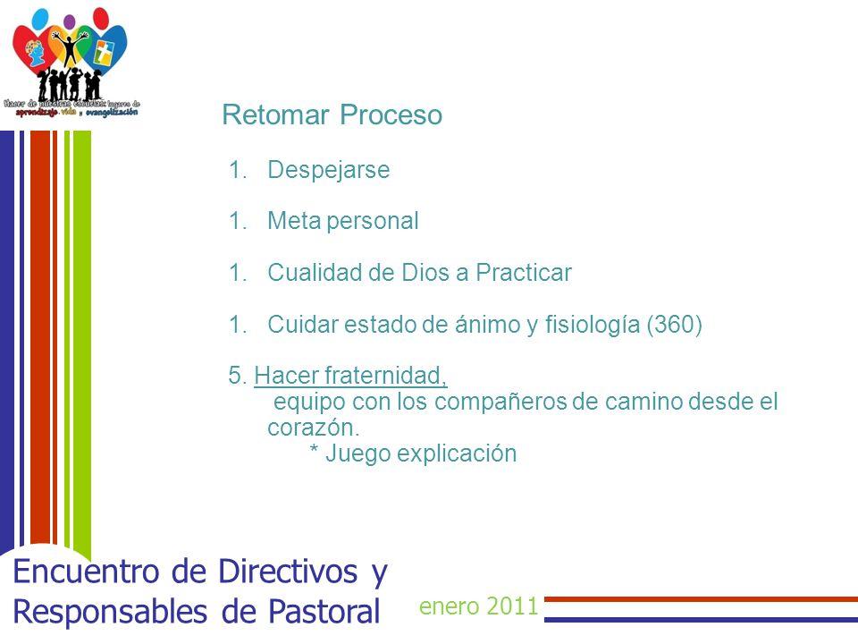 enero 2011 Encuentro de Directivos y Responsables de Pastoral Retomar Proceso 1.Despejarse 1.Meta personal 1.Cualidad de Dios a Practicar 1.Cuidar est