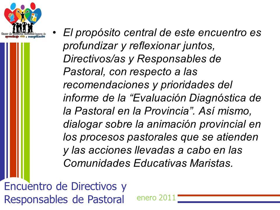 enero 2011 Encuentro de Directivos y Responsables de Pastoral El propósito central de este encuentro es profundizar y reflexionar juntos, Directivos/a