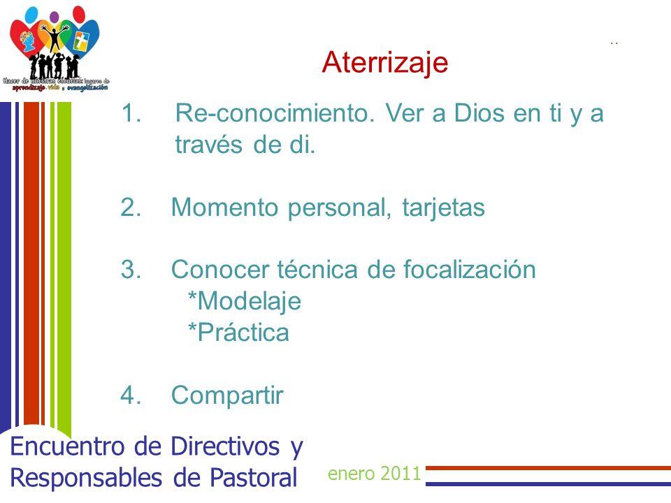 enero 2011 Encuentro de Directivos y Responsables de Pastoral Aterrizaje.. 1.Re-conocimiento. Ver a Dios en ti y a través de di. 2. Momento personal,