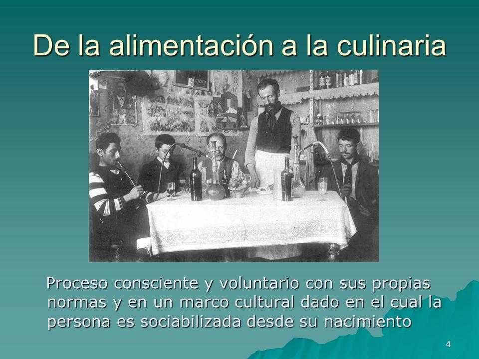 4 De la alimentación a la culinaria Proceso consciente y voluntario con sus propias normas y en un marco cultural dado en el cual la persona es sociab