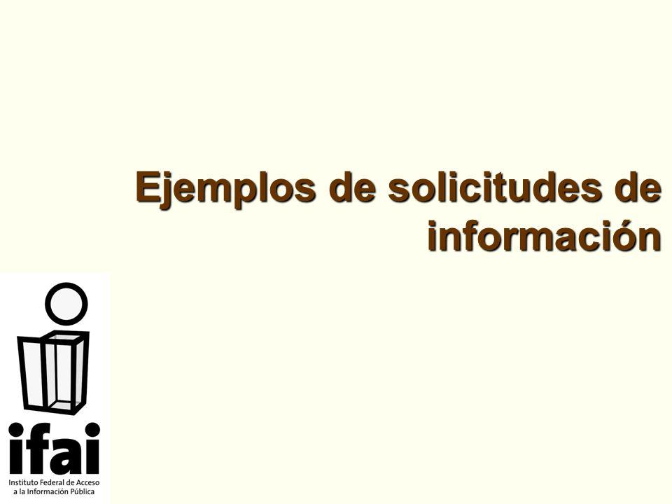 Ejemplos de solicitudes de información