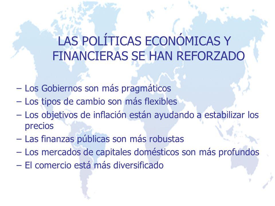 LAS POLÍTICAS ECONÓMICAS Y FINANCIERAS SE HAN REFORZADO –Los Gobiernos son más pragmáticos –Los tipos de cambio son más flexibles –Los objetivos de inflación están ayudando a estabilizar los precios –Las finanzas públicas son más robustas –Los mercados de capitales domésticos son más profundos –El comercio está más diversificado