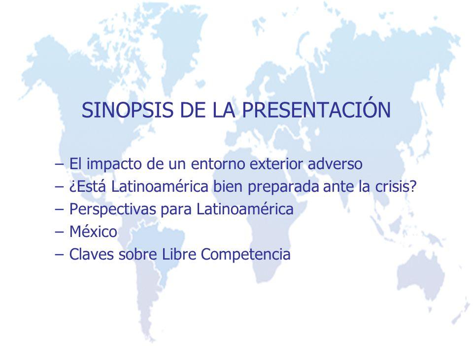 SINOPSIS DE LA PRESENTACIÓN –El impacto de un entorno exterior adverso –¿Está Latinoamérica bien preparada ante la crisis? –Perspectivas para Latinoam