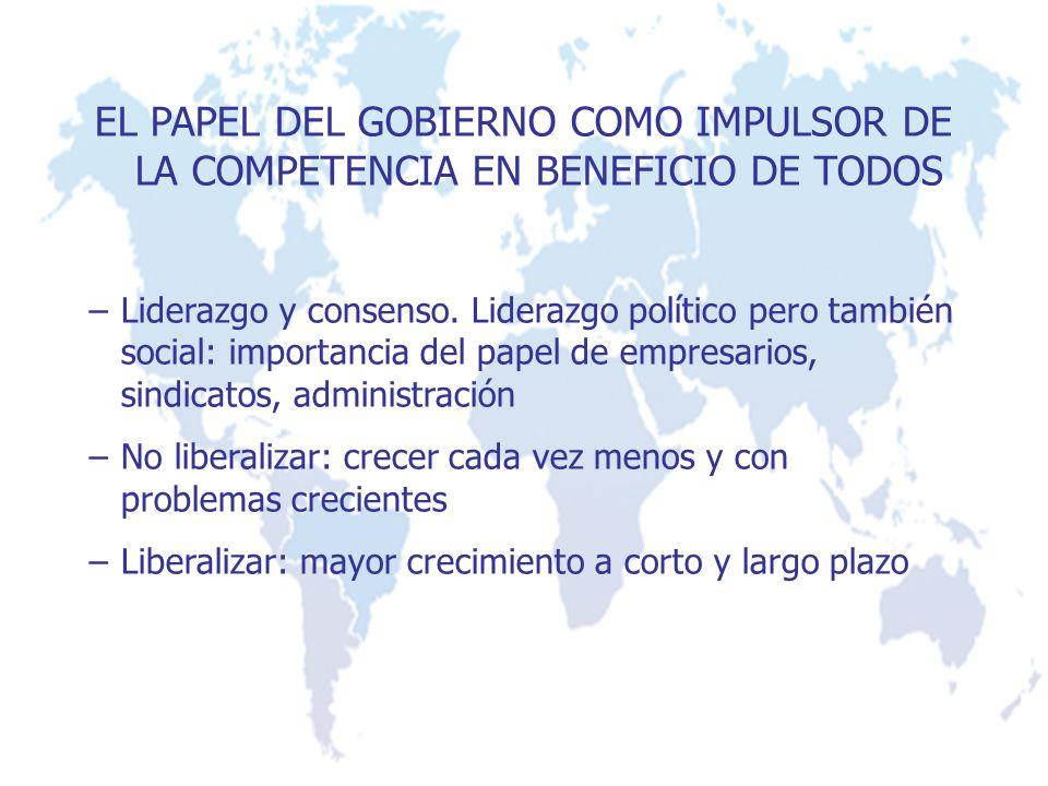 EL PAPEL DEL GOBIERNO COMO IMPULSOR DE LA COMPETENCIA EN BENEFICIO DE TODOS –Liderazgo y consenso. Liderazgo político pero también social: importancia