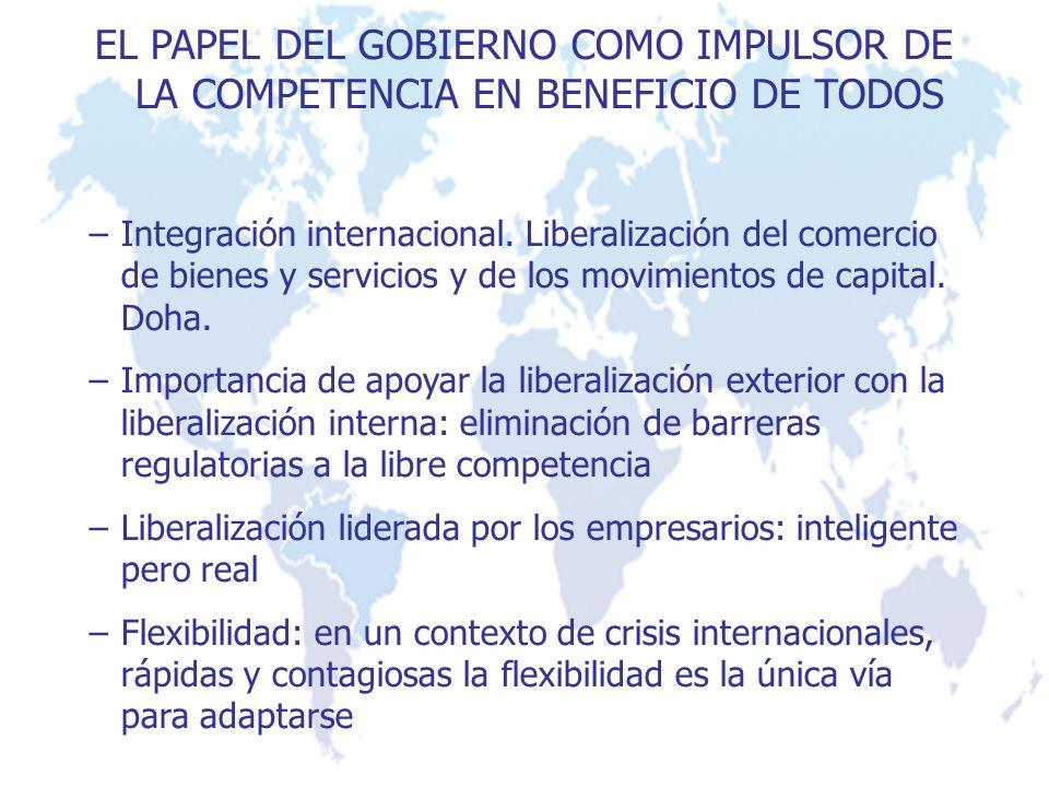 EL PAPEL DEL GOBIERNO COMO IMPULSOR DE LA COMPETENCIA EN BENEFICIO DE TODOS –Integración internacional. Liberalización del comercio de bienes y servic