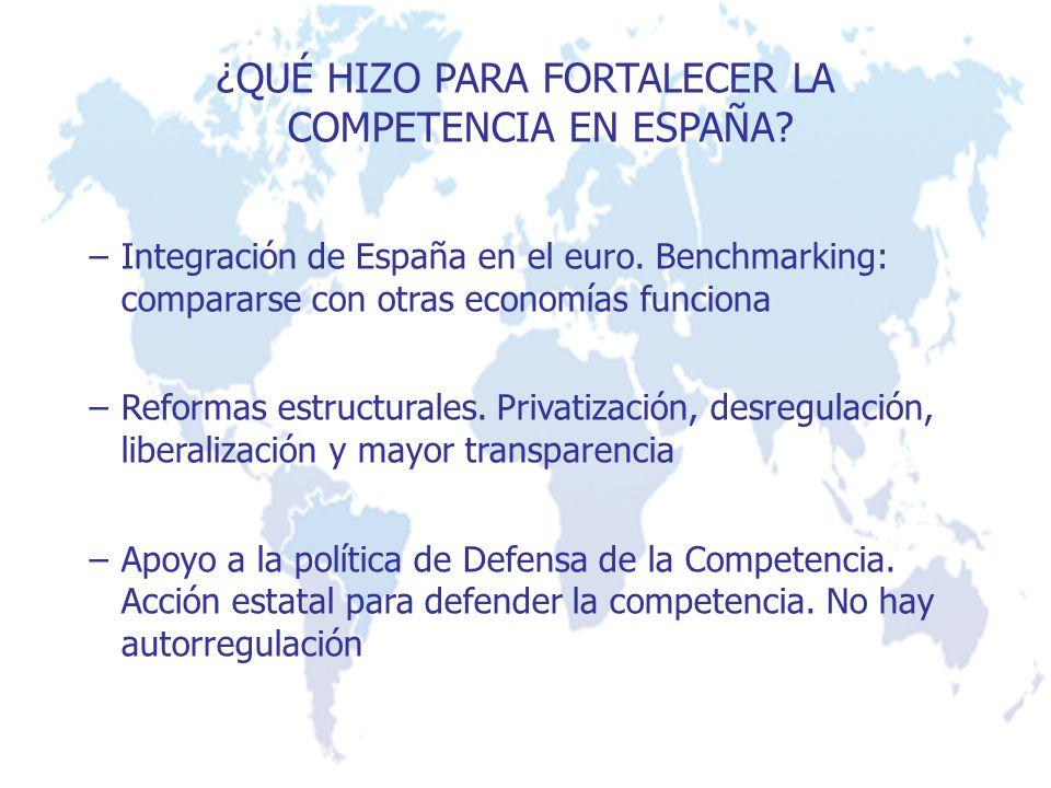¿QUÉ HIZO PARA FORTALECER LA COMPETENCIA EN ESPAÑA? –Integración de España en el euro. Benchmarking: compararse con otras economías funciona –Reformas