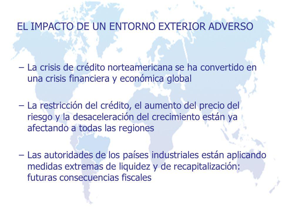 –La crisis de crédito norteamericana se ha convertido en una crisis financiera y económica global –La restricción del crédito, el aumento del precio d