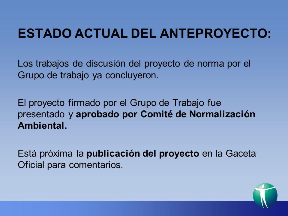 ESTADO ACTUAL DEL ANTEPROYECTO: Los trabajos de discusión del proyecto de norma por el Grupo de trabajo ya concluyeron. El proyecto firmado por el Gru