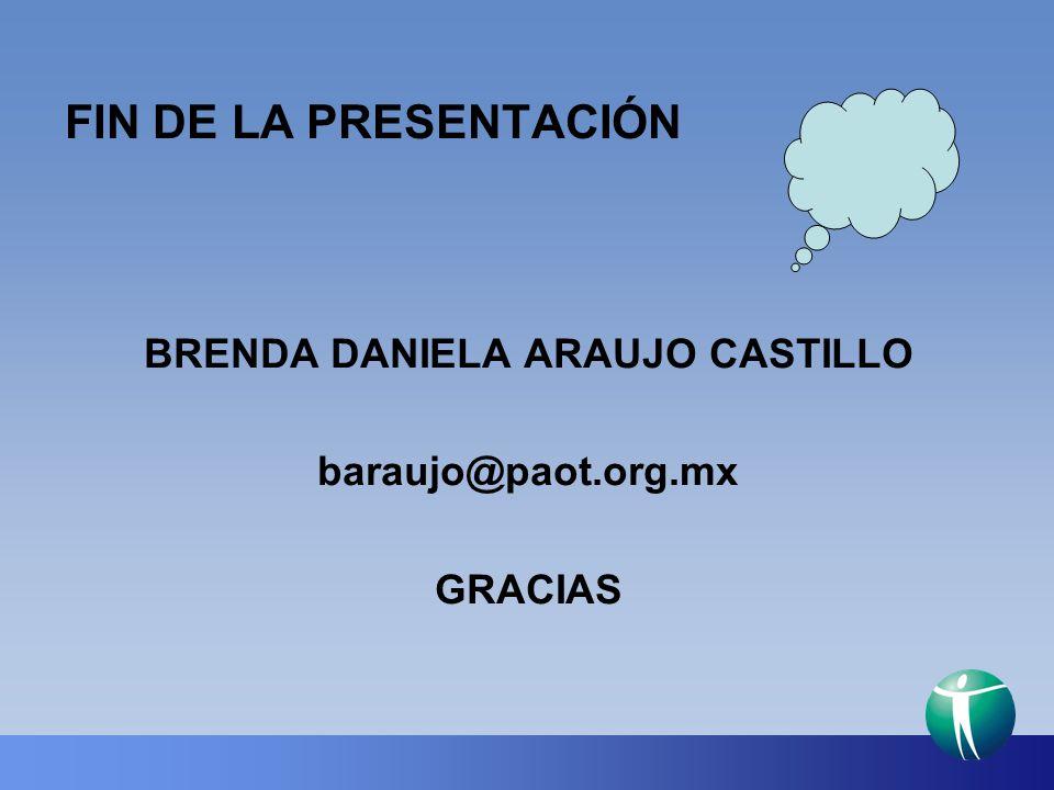 FIN DE LA PRESENTACIÓN BRENDA DANIELA ARAUJO CASTILLO baraujo@paot.org.mx GRACIAS