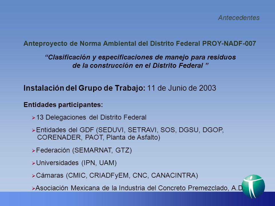 Antecedentes Instalación del Grupo de Trabajo: 11 de Junio de 2003 Anteproyecto de Norma Ambiental del Distrito Federal PROY-NADF-007 Clasificación y