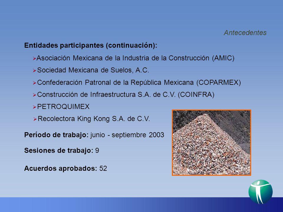 Antecedentes Período de trabajo: junio - septiembre 2003 Sesiones de trabajo: 9 Acuerdos aprobados: 52 Entidades participantes (continuación): PETROQU