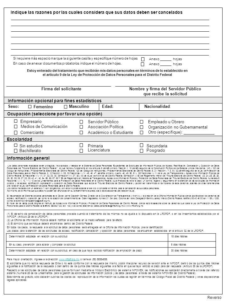 Información general Reverso Información opcional para fines estadísticos Servidor Público Empresario Medios de Comunicación Empleado u Obrero Asociaci