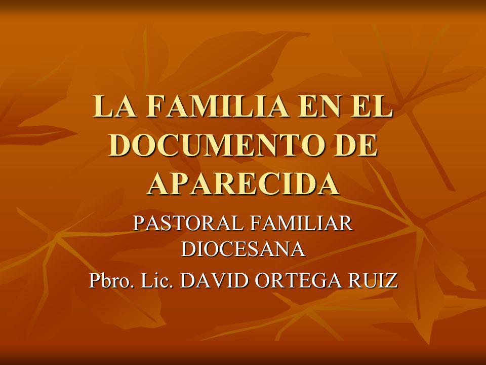 LA FAMILIA EN EL DOCUMENTO DE APARECIDA PASTORAL FAMILIAR DIOCESANA Pbro. Lic. DAVID ORTEGA RUIZ